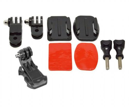 Flat & Curved Helmet Front / Side Mounting Kit with J Hook for GoPro 4 3+ 3 2 1
